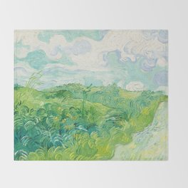 Green Wheat Fields - Auvers, by Vincent van Gogh Throw Blanket
