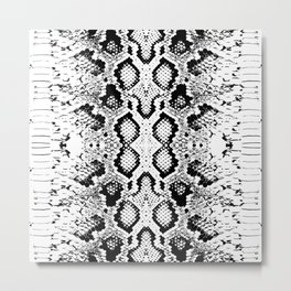 Snake skin texture. black white simple ornament Metal Print