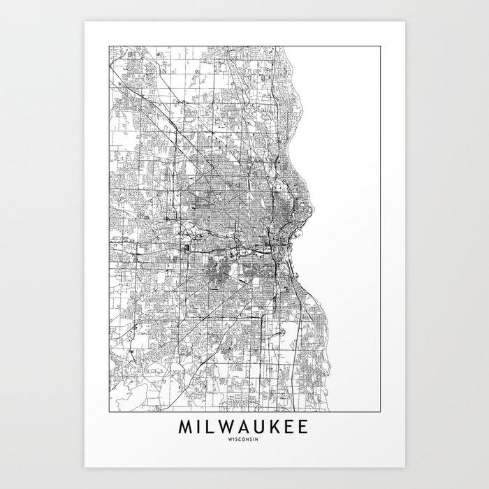 Milwaukee White Map Kunstdrucke