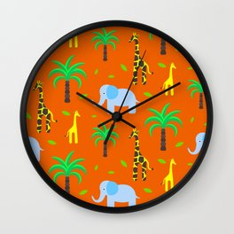 Jiraffe and elephant african pattern Wall Clock