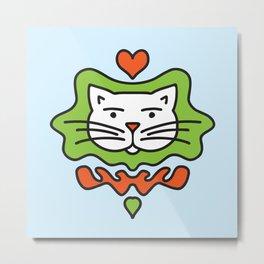 Cute Cartoon Cat - Orange and Green Metal Print
