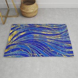 Lapis Lazuli and gold vaves pattern Rug