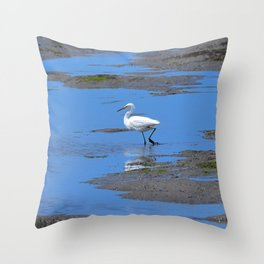 egret in brown and blue Throw Pillow