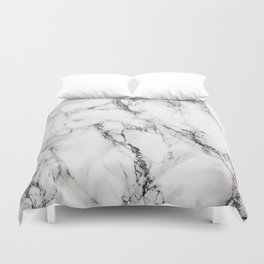 White Faux Marble Texture Duvet Cover