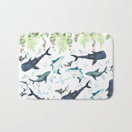 floral shark pattern Bath Mat