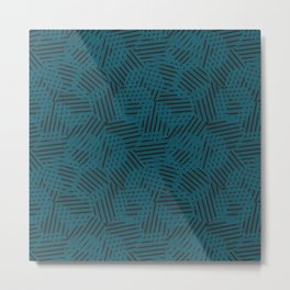 Blue Circles and Black Stripes Metal Print