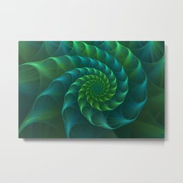 Blue And Green Nautilus Shell Metal Print