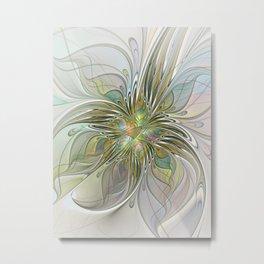 Floral Fantasy, Abstract Fractal Art Metal Print