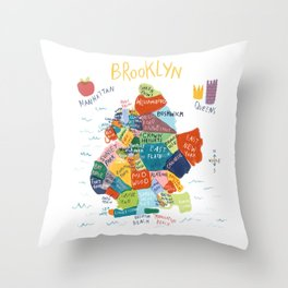 map of brooklyn Throw Pillow