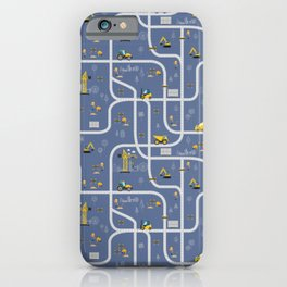 Under Construction Digger Vehicles Blue Pattern iPhone Case