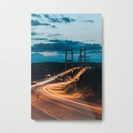 Blue Dusk Bridges Metal Print