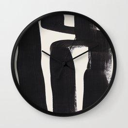 Mid Century Modern Minimalist Abstract Art Brush Strokes Black & White Ink Art Ancient Stripes Wall Clock