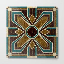 Art Deco Flowers in Brown and Teal Metal Print