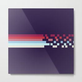 Classic 70s Style Retro Stripes Pixel Drops On Purple - Ariko Metal Print