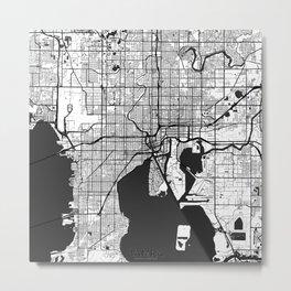 Tampa Map Gray Metal Print