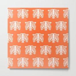 Human Rib Cage Pattern Orange Metal Print