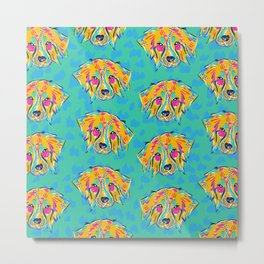 Bright Dog Pattern | Blue Metal Print