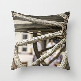 Calgary Stampede Chuck Wagon Wheel with Cobwebs Throw Pillow