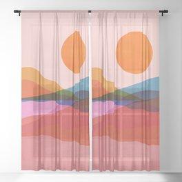 Abstraction_OCEAN_Beach_Minimalism_001 Sheer Curtain