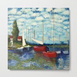 "Artistic Impression of Claude Monet's ""Red Boats at Argenteuil"" Metal Print"