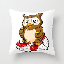 Skiing Owl Ski Skating Cartoon Comic Winter Sports Throw Pillow