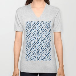Painted spots in classic blue Unisex V-Neck