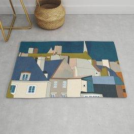 france houses abstract art Rug