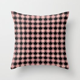 Mermaid Scales Rose Gold Pink on Black Throw Pillow