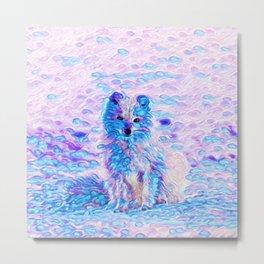 Arctic Fox Dream | Painting Metal Print
