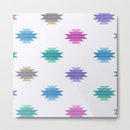 Muted Cotton Candy Aztec Print Metal Print