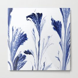 Painted Flowers In Blue Metal Print