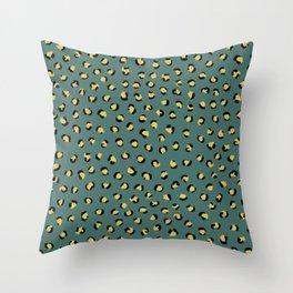Little leopard skin pop trend animal fur panther ochre teal green Throw Pillow