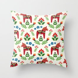 Swedish Dala Horses Red Throw Pillow