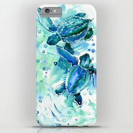 Turquoise Blue Sea Turtles in Ocean iPhone Case