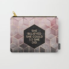 She Believed She Could - Grey Pink Carry-All Pouch
