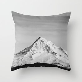 Mount Hood - Snow Capped Mountain Adventure Nature Photography Throw Pillow