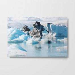 Iceberg Sculptures in Jokulslarlon Metal Print