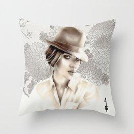 Scarlett Johansson  (black and white FANART ) Throw Pillow