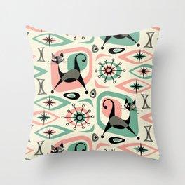 Mid Century Cat Abstract - Pink Aqua Throw Pillow