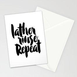 LATHER RINSE REPEAT, Salon Wall Decor,Bathroom Decor,Girls Room Decor,Calligraphy Print,Typographic Stationery Cards