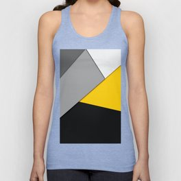 Simple Modern Gray Yellow and Black Geometric Unisex Tank Top