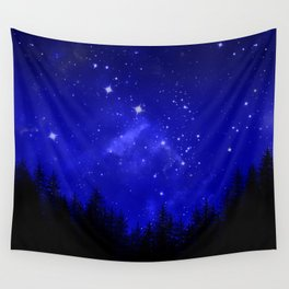 Blue Galaxy Forest Night Sky Wall Tapestry