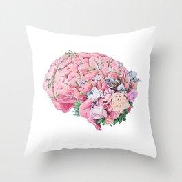 Floral Anatomy Brain Throw Pillow