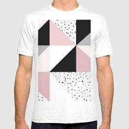 Geometrical pink black gray watercolor polka dots color block T-Shirt