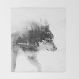 Wolf Stalking Throw Blanket
