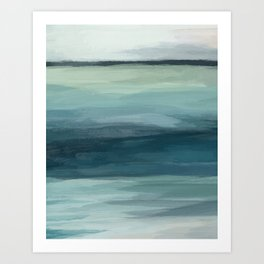 Seafoam Green Mint Navy Blue Abstract Ocean Art Painting Art Print