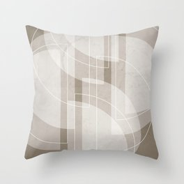 Abstract Semi Circle Design in Taupe Throw Pillow
