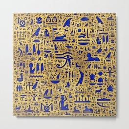 Egyptian hieroglyphic Lapis Lazuli and Gold Metal Print