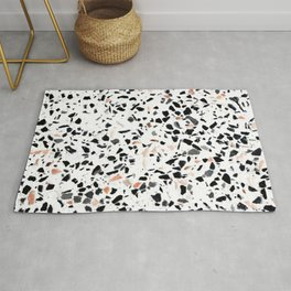 Terrazzo Stone Pattern Black and Orange Peach Rug