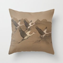 Cranes Flying Over Mongolia Throw Pillow